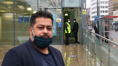Angry trader Faruq Uddin was confronted by scurtity guards at Covid walk-in test centre so close to