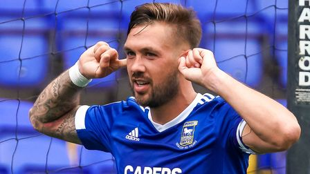 Luke Chambers celebrates scoring in the opening day League Cup win against Bristol Rovers. Photo: St