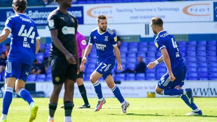 Gwion Edwards celebrates after sealing Ipswich Town's 2-0 win against Wigan. Photo: Steve Waller