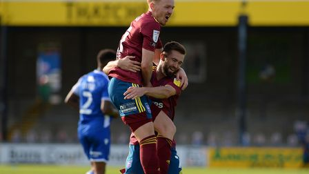 Gwion Edwards and Jon Nolan celebrate during a 2-0 league win Bristol Rovers. Picture: Pagepix Ltd
