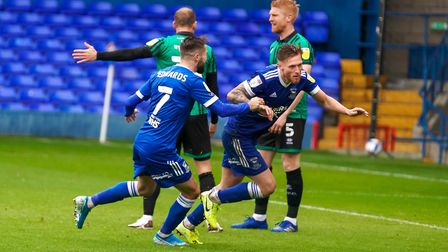 Teddy Bishop wheels away after scoring Ipswich's Town's opening goal against Rochdale. Photo: Steve