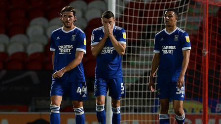 The first big set-back: James Wilson reacts during Ipswich Town's 4-1 loss at Doncaster Rovers. Pict