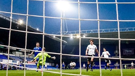 James Norwood beats Portsmouth goal keeper Craig MacGillivray, to level the game at 2-2 against Port