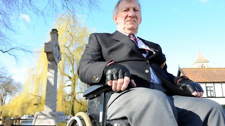 David Freeman next to the war memorial on the River Green at Thorpe St Andrew in 2011.