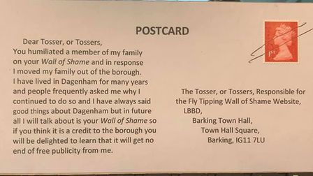 This postcard was sent to the town hall from the relative of someone caught flytipping. Picture: LBB