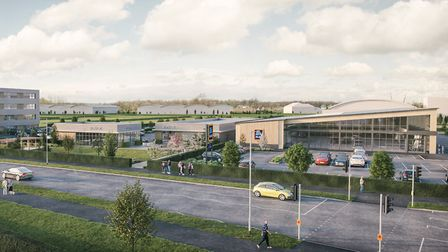 A CGI of the Aldi scheme at Suffolk Park, Bury St Edmunds, that has now been withdrawn Picture: ALDI/JAYNIC