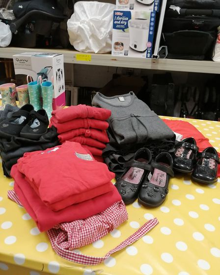 The charity can also provide uniforms for children in local primary schools. Picture: ABI'S FOOTPRINTS BABY BANK