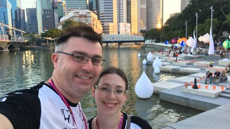 Greg Kingston and his wife Kat pictured at the 2016 Singapore Grand Prix. Picture: GREG KINGSTON