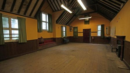 The main room inside the former church hall in the Helmingham Estate which is up for sale for £150,0