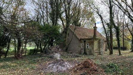 The former church hall in the Helmingham Estate which is up for sale for £150,000. Picture: CLARKE &