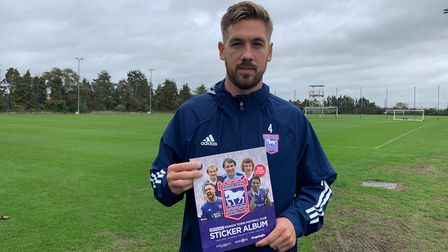 Captain Luke Chambers is one of the cover stars of the new Ipswich Town sticker album Picture: ITFC
