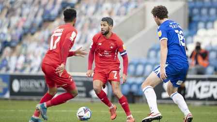 Jobi McAnuff, Leyton Orient looks for the pass during Colchester United vs Leyton Orient, Sky Bet EF