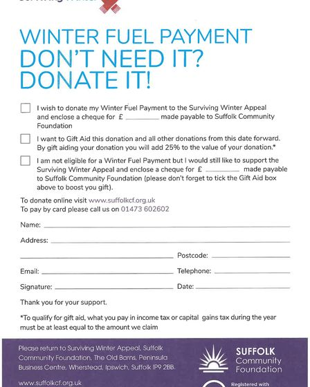 The coupon for this year's Surviving Winter campaign Picture: SUFFOLK COMMUNITY FOUNDATION