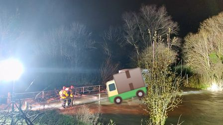 The van had become stuck on flooded bridge Picture: PC 1988 Saunder/ Haverhill Police