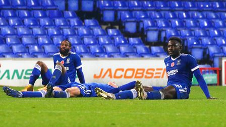 Town players pictured after the 3-2 defeat against Portsmouth in the FA Cup Picture: Ross Halls