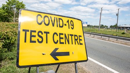 Covid-19 test centre signs approaching Ipswich Park and Ride Picture: SARAH LUCY BROWN