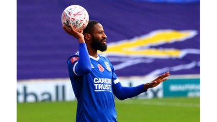 Janoi Donacien taking a throw in during the 3-2 defeat against Portsmouth in the FA Cup Picture: Ros