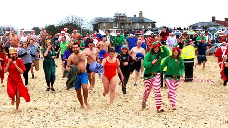 The Southwold Christmas Day Swim regularly attracts hundreds of participants Picture: CATHY RYAN