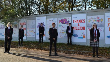Mildenhall Academy students with their artwork Picture: RG CARTER