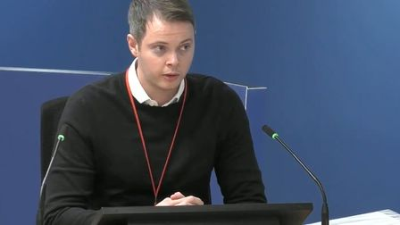Jonathan Roper, former assistant product manager at insulation makers Celotex, giving evidence to the Grenfell Tower inquiry ...