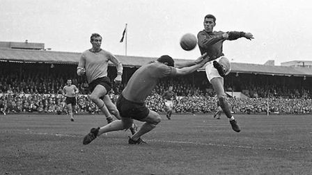 Ray Crawford was on target at Maine Road, Manchester in the FA Cup in 1967, but couldn't help Town t