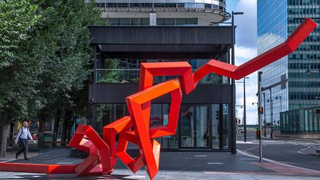 Adding to Canary Wharf's wild public art collection... Scribbleform by Julian Wild. Picture: Peter M