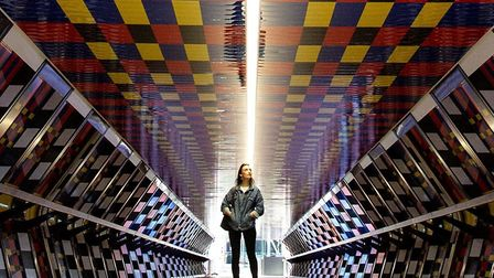 Camille Walala's reimagined Adams Plaza Bridge now added to Canary Wharf's permanent collection of p