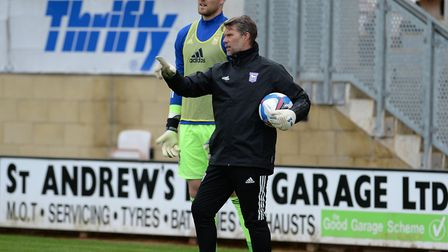 Goalkeeping coach Jimmy Walker with first choice stopper Thomas Holy. Picture: PAGEPIX LTD