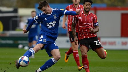 Oli Hawkins fires over at Lincoln. Ipswich Town haven't created too many clear cut goalscoring chanc