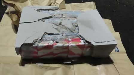 24kg of heroin - concealed in a cement block - were discovered in a vehicle stop which took place in