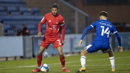 Jobi McAnuff, Leyton Orient route blocked off by Noah Chilvers, Colchester United during Colchester