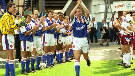 Frank Yallop, honoured with a Testimonial match at Portman Road in August 1992. Yallop is No. 3 on t