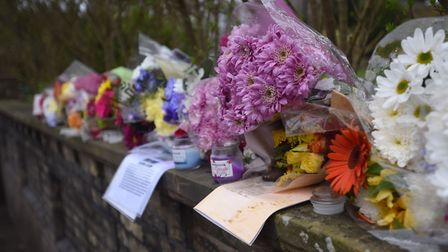 Floral tributes to Jake Page in Melford Road, Sudbury. Picture: ARCHANT