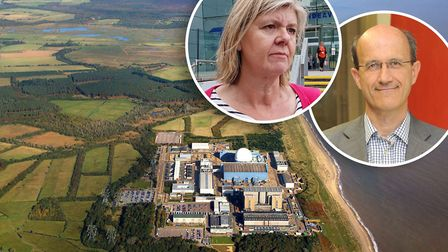 Alison Downes, of Stop Sizewell C, and Sizewell C managing director Humphrey Cadoux-Hudson have been