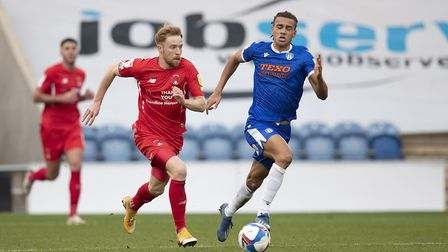 James Brophy, Leyton Orient breaks quickly during Colchester United vs Leyton Orient, Sky Bet EFL Le