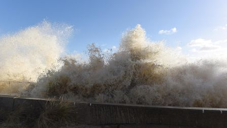 Huge waves crashing against the prom in Southwold during a previous surge Picture: SARAH LUCY BROWN