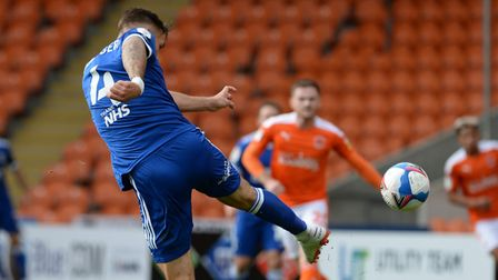 Luke Chambers has scored twice so far this season - including this thumping volley at Blackpool. Pho