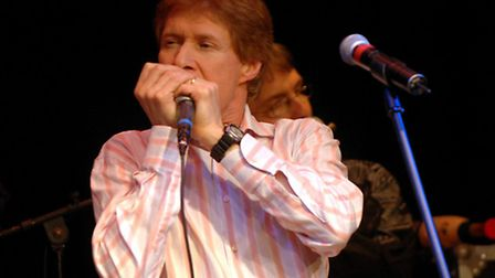 Paul Jones playing the harmonica at a Manfreds gig at the Fisher Theatre in Bungay. Photo: Denise Br