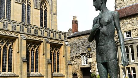 The statue of St Edmund in front of the Abbey West Front in Bury St Edmunds (next to the cathedral)