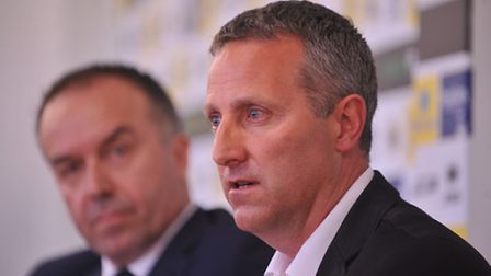 Neil Adams with David McNally at the press conference announcing his appointment as Norwich City's n