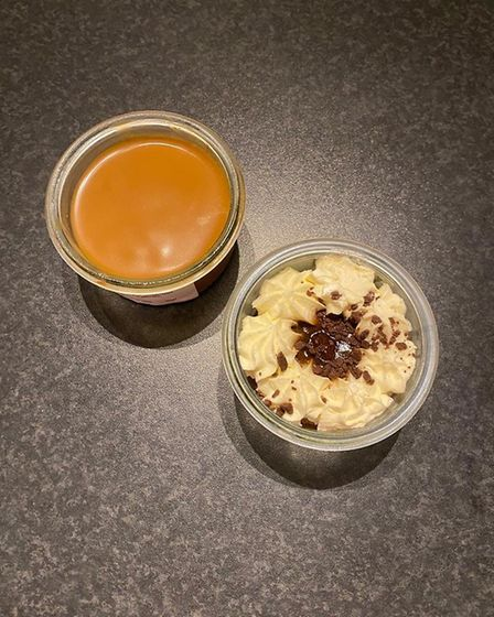 The desserts from LEA - left, chocolate mousse and salted butter caramel and, right, a tiramisu Pict