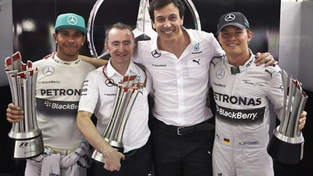 Mercedes' (from left) Lewis Hamilton, Paddy Lowe, Toto Wolff and Nico Rosberg.