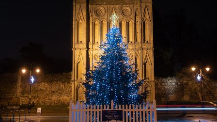 The Christmas tree on Angel Hill in Bury St Edmunds. Picture: SARAH LUCY BROWN
