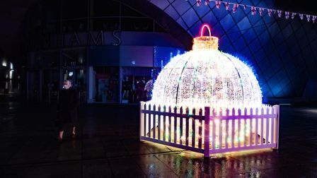 The Arc shopping centre in Bury St Edmunds is full of festive sparkle with the Christmas lights now on. Picture: SARAH...