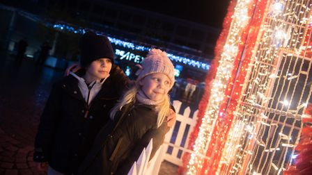 Rylie and Mitzi-Mae came to see the lights come on at The Arc. Picture: SARAH LUCY BROWN
