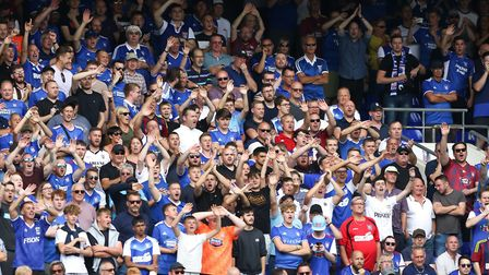 Town fans celebrate during the 3-0 home win over Shrewsbury Town at the start of last season. Pictur
