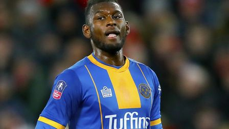 Shrewsbury Town's Aaron Pierre, who has scored a couple of goals this season, including in last week