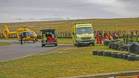 Emergency services at the scene of Ollie's accident back in March. Picture: SPROCKET PHOTOGRAPHY