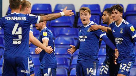 Jack Lankaster looks thrilled after scoring the winner for Ipswich in their 2-1 victory over Shrewsb