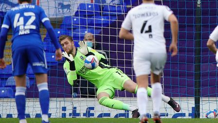Ipswich keeper Tomas Holy is beaten by an early Shrewsbury Town penalty. Picture: Steve Waller